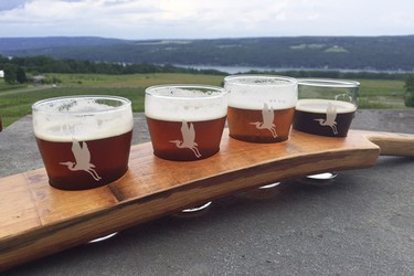 NY craft beer flight at Heron Hill Winery in Hammondsport