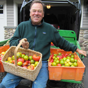 John Ingle with produce from his garden