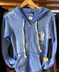 MEDIUM Blue Fleece Sanded Hoodie